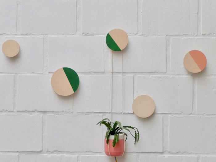 Ronde houten wandknoppen