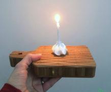 Mini-bamboeplank met reliëf met kaarsje, 10voortwaalf