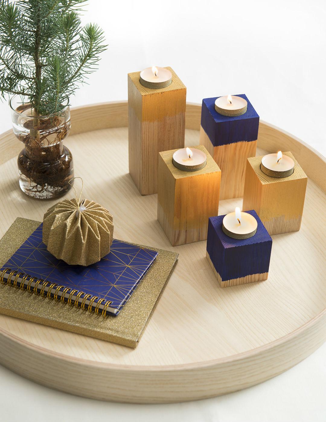 DIY kandelaars voor waxinelichtjes in hout - Villa Apppelzee