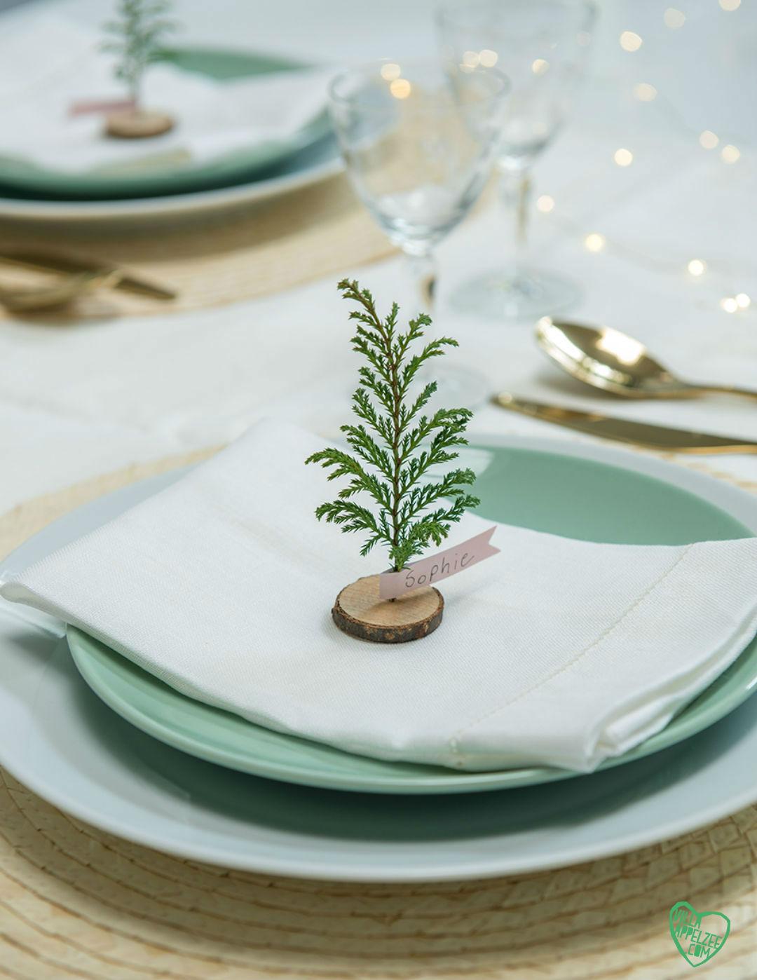 DIY mini-kerstboompjes van takjes als naamkaartjes op tafel - Villa Appelzee