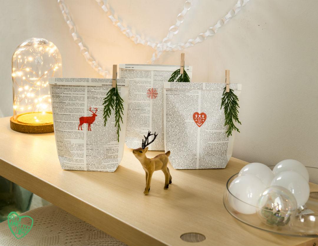 Recycle cadeauverpakking: zakjes van oud papier - Villa Appelzee