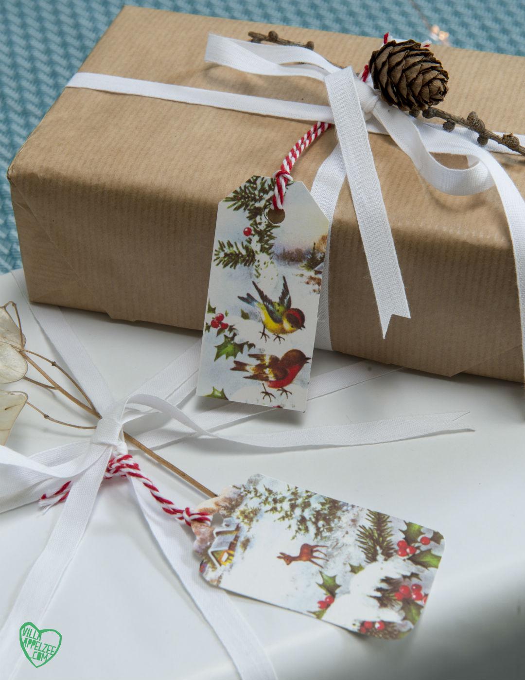 Recycle cadeauverpakking: labels van oude kerstkaartjes - Villa Appelzee