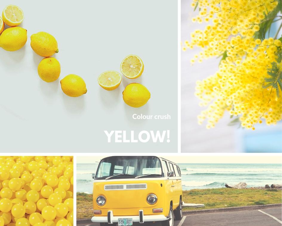 Collage van foto's met de kleur geel
