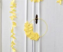 DIY krans en slinger in geel crêpepapier
