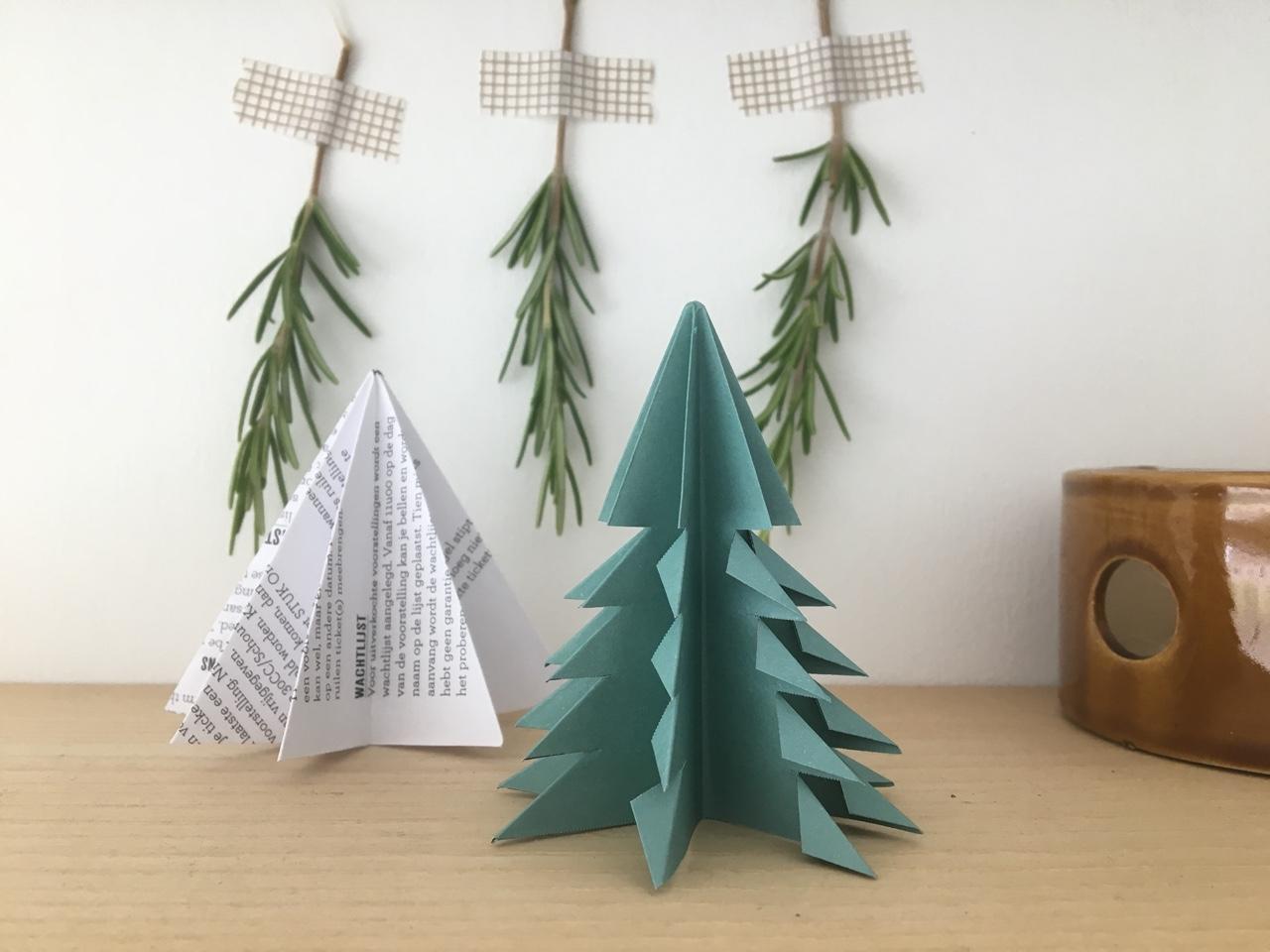 origami kerstboompje uit oud papier, appelzee.com