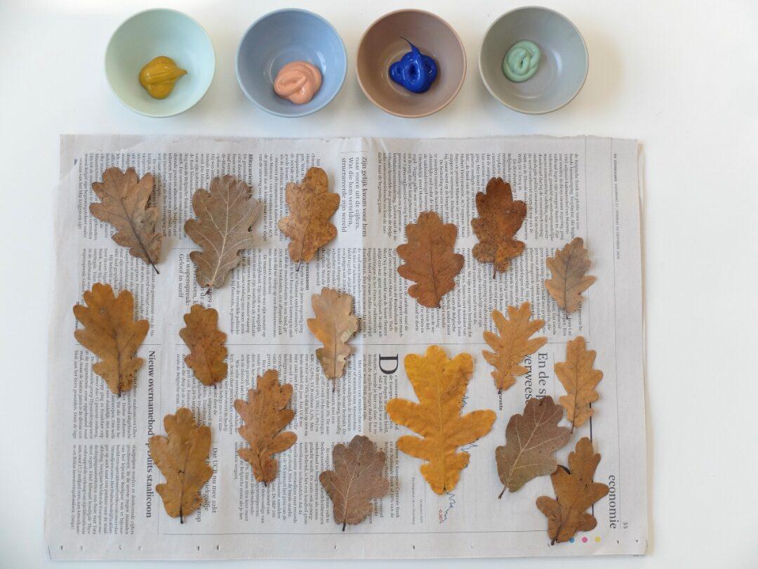 Gedroogde herfstbladeren en potjes verf Villa Appelzee