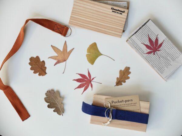 Kleine plantenpers met gekleurde riem en herfstbladeren 10voortwaalf